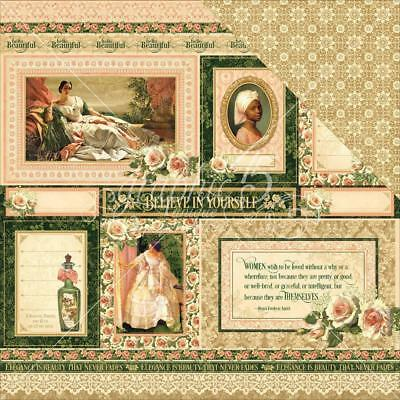 "Graphic 45 Portrait of a Lady - BLANCHE - 12x12"" Scrapbooking Paper"