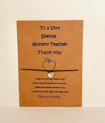 'Nursery Teacher' Thank You Gift, Wish Bracelet Tibetan Silver Apple Charm!