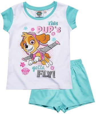 Girls Official Paw Patrol Skye White Aqua Blue Short Sleeve Summer Pyjamas PJs