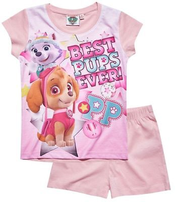 Girls Official Paw Patrol Skye & Everest Pink Short Sleeve Summer Pyjamas PJs
