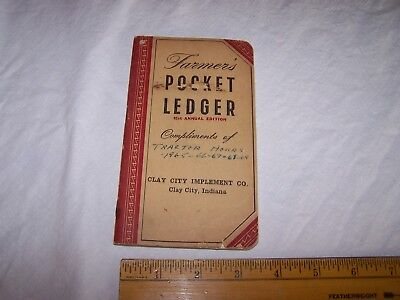 1947-1948 CLAY CITY IMPLEMENT John Deere Pocket Ledger INDIANA