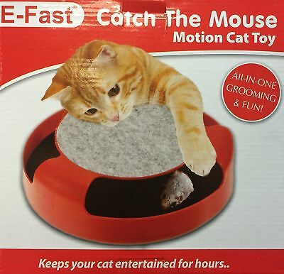 CAT KITTEN CATCH THE MOUSE PLUSH MOVING TOY SCRATCHING CLAW CARE MAT(red)