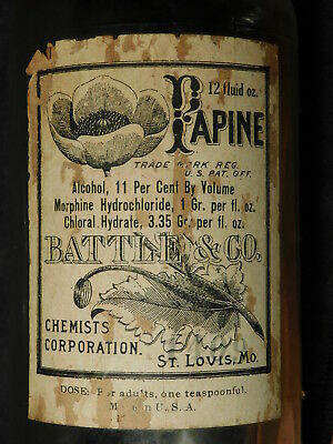 """Papine 12oz EMPTY 6-3/4"""" Bottle Battle Chemists morphine-alcohol-chloral hydrate"""