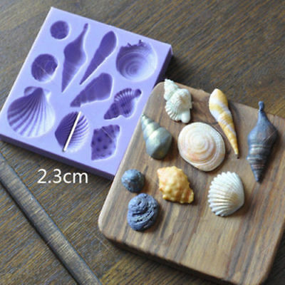 Sea Shells Conch Silicone Mould Cake Beach Stones Summer Fondant Baking DIY Mold