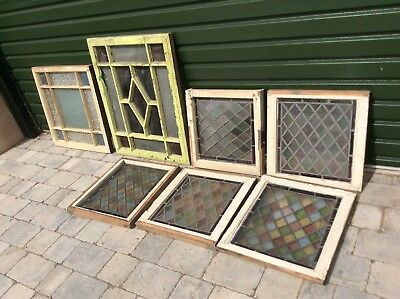 Job lot of Victorian stained glass windows, leaded lights x7