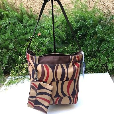 SALE TUMI Brown Leather Tan Nylon Shoulder Hobo Zipper Medium Bucket Hand  Bag d4e0e7ddae