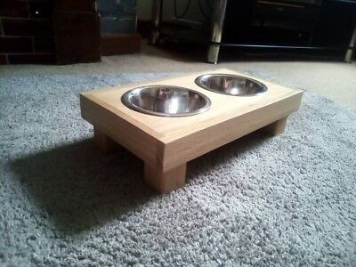 Solid Oak Small Dog/Cat Bowl Raiser/Feeder 2x Stainless Steel Bowls