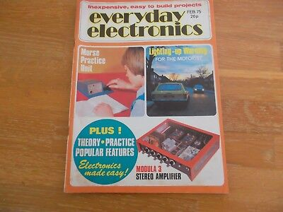 Everyday Electronics Magazine Feb 1975 Morse Practice Unit Stereo Amplifier