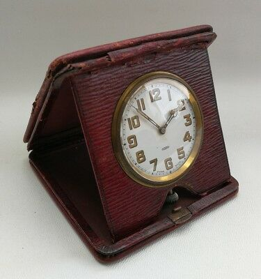 Vintage Art Deco Swiss Made Maroon Leather Cased 8 Day Travel Bedside Desk Clock