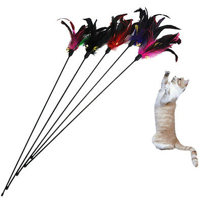 Fun Kitten Toy Cat Feather Bell Wand Teaser  Rod Bead Play Pet Ball Toys RS