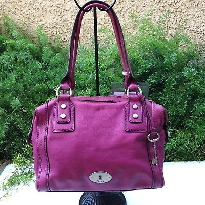 SALE FOSSIL Maddox Magenta Purple Leather Shoulder Satchel Zip Large Hand  Bag 1d6b4f861a