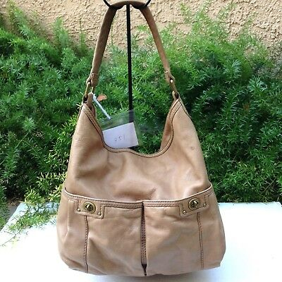 SALE MARC BY MARC JACOBS Beige Tan Leather Large Shoulder Hobo Tote Hand Bag 75b5f54893