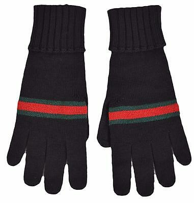 ff34b288c4ae BNWT BEAUTIFUL DESIGNER GUCCI Mens Black Wool Gloves Size L ITALY ...