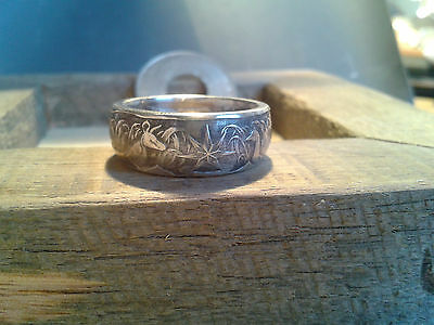 Custom Made Silver Coin Rings 1966 50cent Florin Shilling Gold, walking liberty