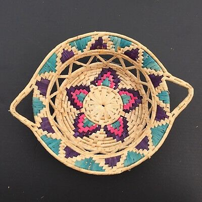 """Vtg Mexican Woven Bowl/plate 12"""" Grass Basket Wall Hanging Decoration Handmade"""