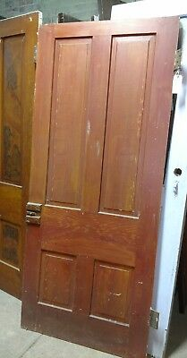 "Reclaimed Antique 4 Panel Pine 1860's Farm House Door. Faux finish 34"" x 79"""