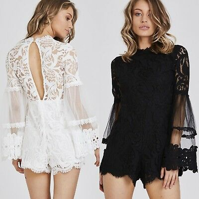 New Women Ladies Black White Summer Floral Lace Bell Sleeve Playsuit jumpsuit