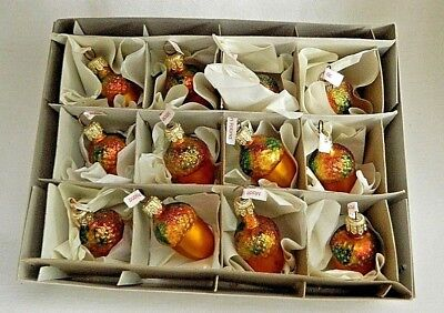Box of 12  Multi Glitter Acorns  Blown Glass Christmas Tree Ornaments  Poland