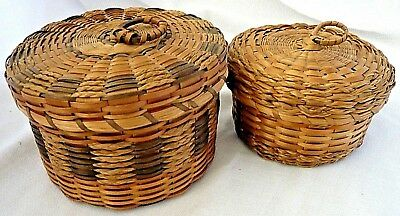 2 Small Native Sweet Grass Baskets, Maine, USA, Excellent Condition, Early 1900s