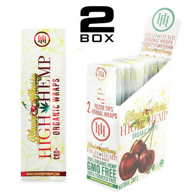 High Hemp Organic Wraps 2 Boxes 50 Pouches (100 Wraps) NON GMO BLAZIN CHERRY