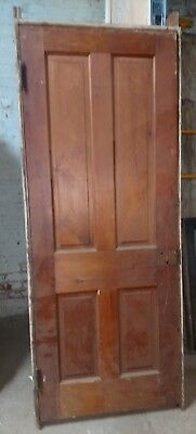 "Reclaimed Antique 4 Panel Pine Door in Jamb,  30"" x 77""  1880's circa."