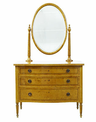 Early 20Th Century Inlaid Birch Dressing Chest And Mirror
