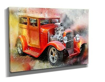 EXTRA LARGE CANVAS Wall Art Print Vintage Red Hot Rod Classic Car ...