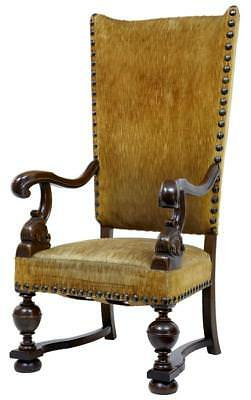 Rare 19Th Century French Oak Large High Back Armchair