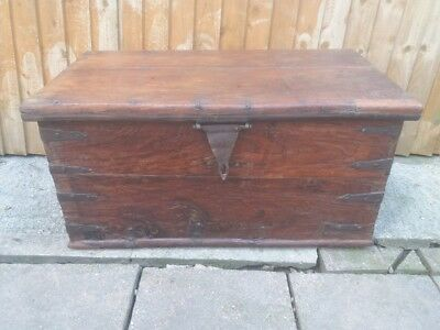 19th century iron bound campaign chest