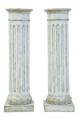 Pair Of Faux Stone Carved Wooden Columns