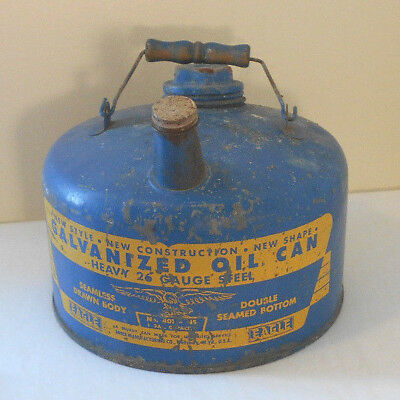 EAGLE Blue GALVANIZED metal CAN One GALLON OIL Can-vtg USA