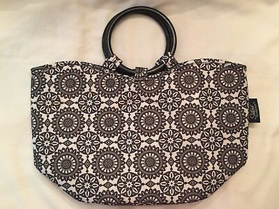 Sisters by LONGABERGER Black & White Insulated Fabric Lunchbag Purse FREESHIPPIN