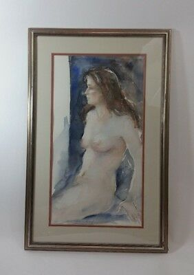 "Framed Art "" Elaine Howard "" Painting 18""X28 Bare Women Water Color Original"