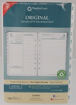 Franklin Covey 2019 Original Two Page Per Day Classic Ring-Bound Planner Refill