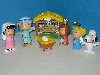 JP Just Play PEANUTS NATIVITY Figures Deluxe Complete 7-piece Set~Charles Schulz
