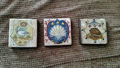 "VTG Set of 3 Italian Hand Painted Folk Art Ceramic Tiles 4"" X 4"""