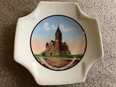 Antique Souvenir China Montgomery County Court House Red Oak Iowa IA Dish