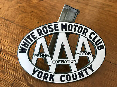 Rare Vintage AAA White Rose Motor Club - York County PA - Car Grille Badge