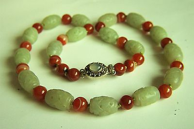 """Amazing Chinese Vintage Carved Hetian Jade Carnelian Sterling Necklace 24"""" A"""