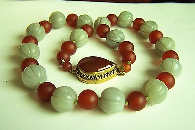 """Amazing Estate Chinese Vintage Carved Hetian Jade Carnelian Necklace 25"""" 187g  A"""