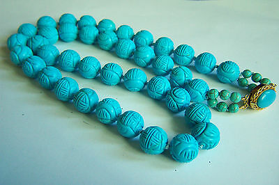 """Amazing Vintage Chinese Classical Carved Turquoise Necklace 30 1/2"""" 219 g"""