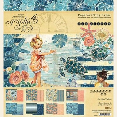 """Graphic 45 - Sun Kissed - 8x8"""" Scrapbooking Paper Pad - 24 sheets ~ Beach"""