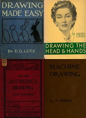 277 Old Books On Drawing Sketching Drafting, Freehand Pencil Charcoal Brush Dvd