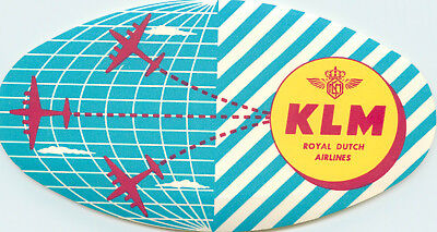 Royal Dutch Airlines ~KLM AIRLINE~ Great Old Luggage Label, c. 1950's