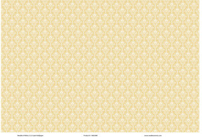 1:12 Scale Wallpaper Golden Yellow Damask- 3 Sheets - 0001484