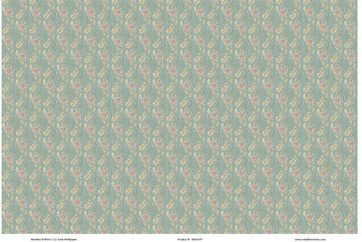 1:12 Scale Wallpaper Turquoise Floral - 3 Sheets - 0001470