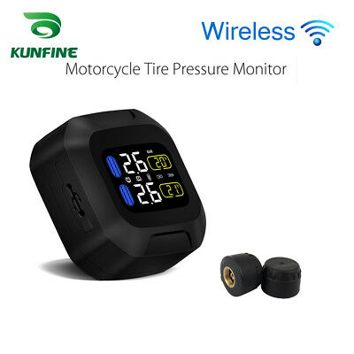 Wireless Motorcycle TPMS Tire Pressure Monitor Temperature with External Sensors