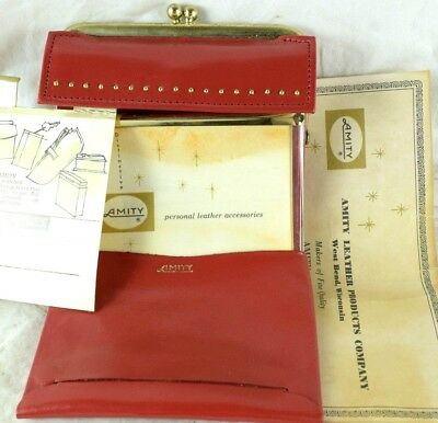 Vintage 1950's NOS Red Cowhide Leather Ladies Wallet Purse Amity Papers Rolfs #B