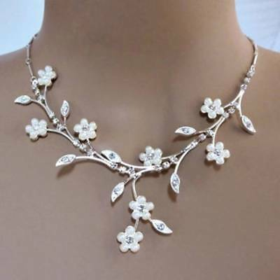 Bridal Jewelry Wedding necklace earrings set pearl silver white Austrian crystal