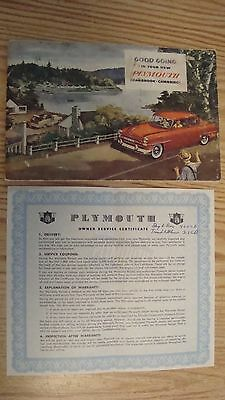 1950's Plymouth Owners  Manual Booklet Vintage  Car   **